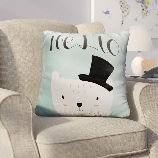 Farranshane Baby Polar Bear with Black Hat Throw Pillow by Harriet Bee
