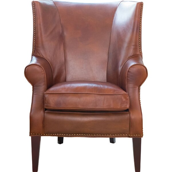 Elements Fine Home Furnishings Brayden Leather Wingback Chair U0026 Reviews |  Wayfair