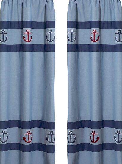 Nautical Semi-Sheer Rod Pocket Curtain Panels (Set of 2) by Sweet Jojo Designs