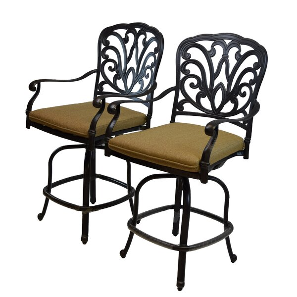 Bosch Aluminum Patio Bar Stool with Cushion (Set of 2) by Darby Home Co