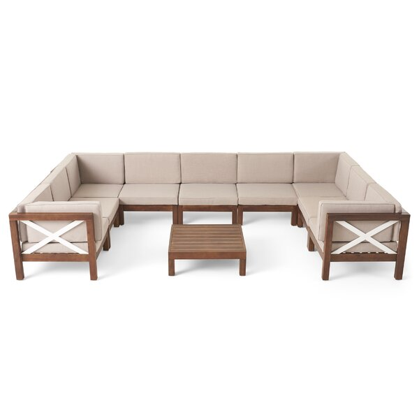 Pickering Outdoor 10 Piece Sectional Seating Group with Cushions by Longshore Tides