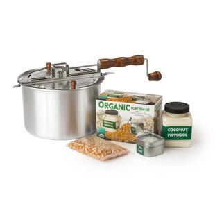 192 Oz. 4 Piece DIY Organic Popcorn Kit Featuring the Original Whirley Pop Set by Wabash Valley Farms