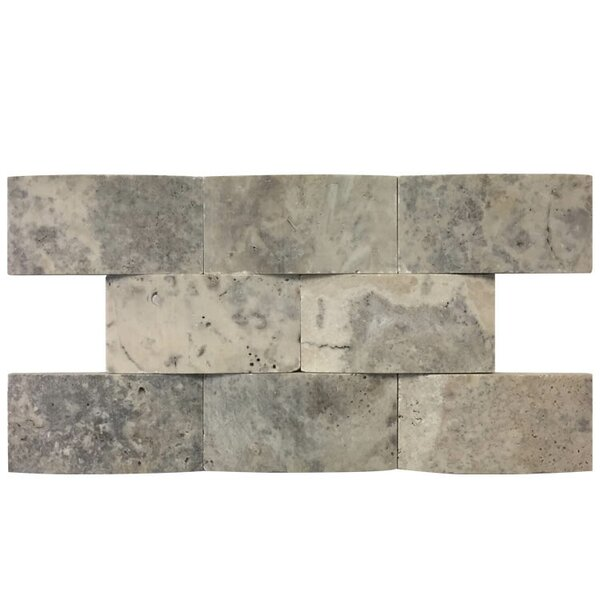 3D Honed 2 x 4 Natural Stone Mosaic Tile in Silver by QDI Surfaces