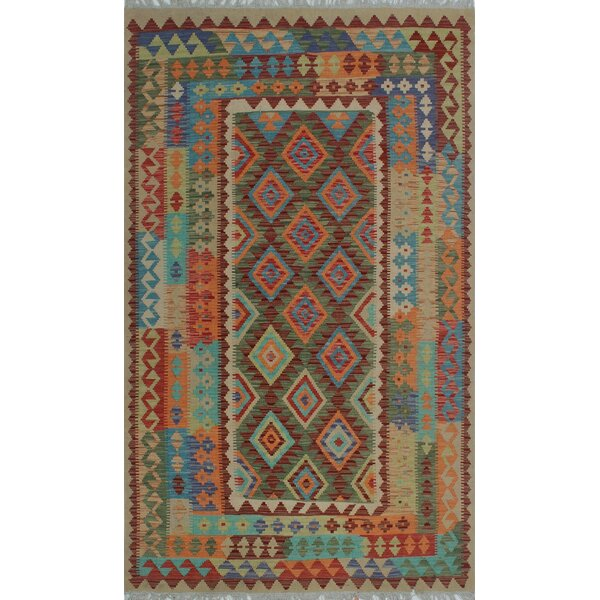 Corda Hand-Knotted Wool Blue/Orange Area Rug by Bungalow Rose