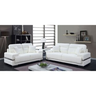 Ameetha 2 Piece Faux Leather Living Room Set by Orren Ellis