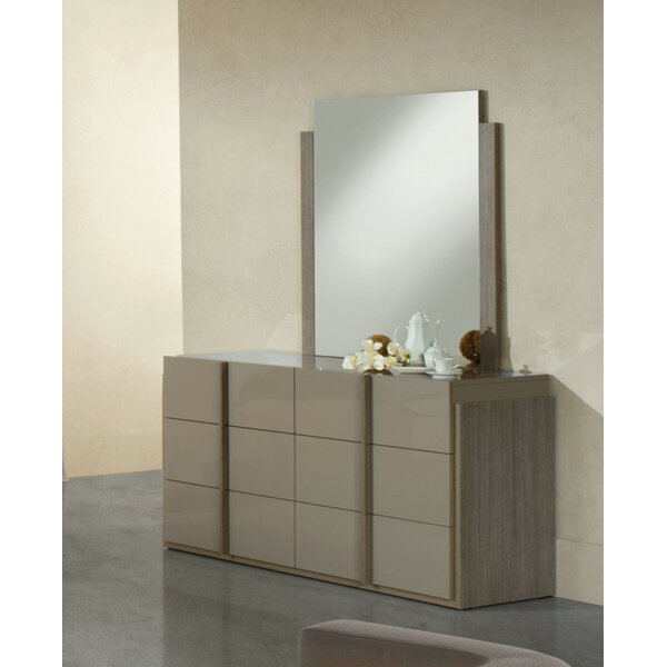 Saxton 6 Drawer Double Dresser with Mirror by Wade Logan
