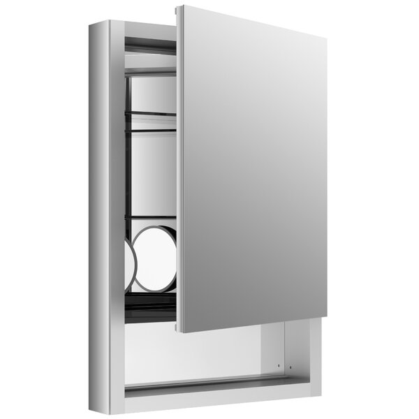 Verdera 20 x 30 Aluminum Medicine Cabinet with Adjustable Magnifying Mirror, Slow-Close Door, Open Shelf and Right-Hand Hinge by Kohler