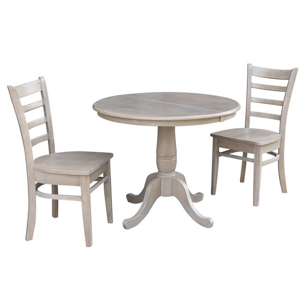 Petra Traditional Extendable Pedestal 3 Piece Solid Wood Bistro Set by August Grove