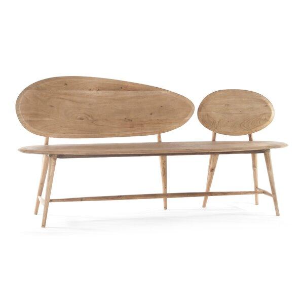 Melva Pebble Wood Bench by Corrigan Studio