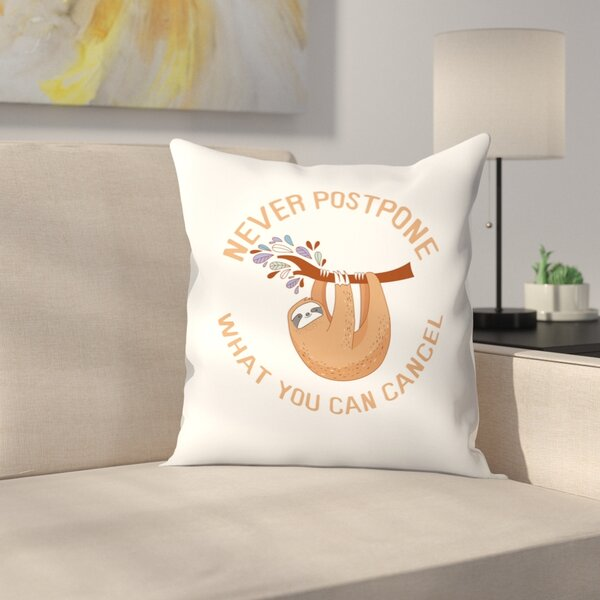 Sloth Cancel Throw Pillow by East Urban Home