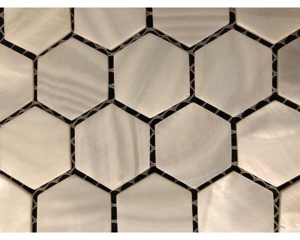 1 x 1 Seashell Mosaic Tile in White by Matrix-Z