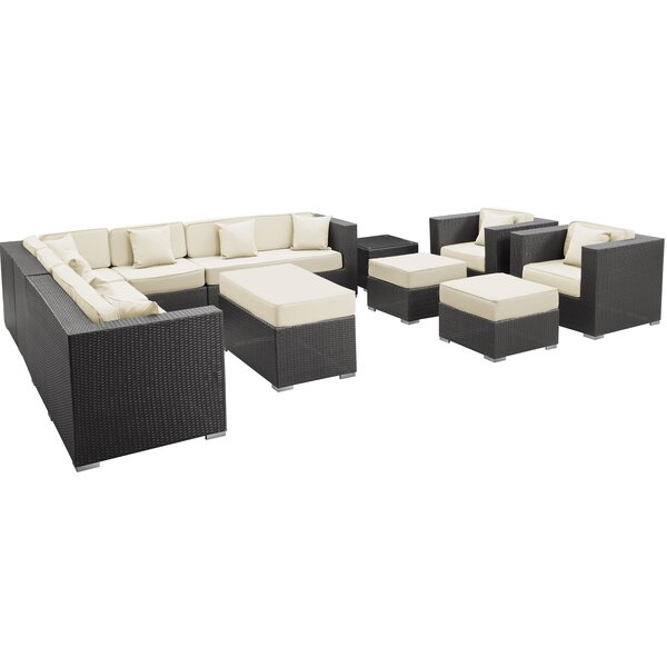 Coherence 11 Piece Rattan Sectional Set with Cushions by Modway Modway