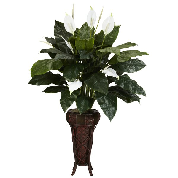 Spathyfillium Stand Silk Floor Plant in Decorative Vase by Nearly Natural