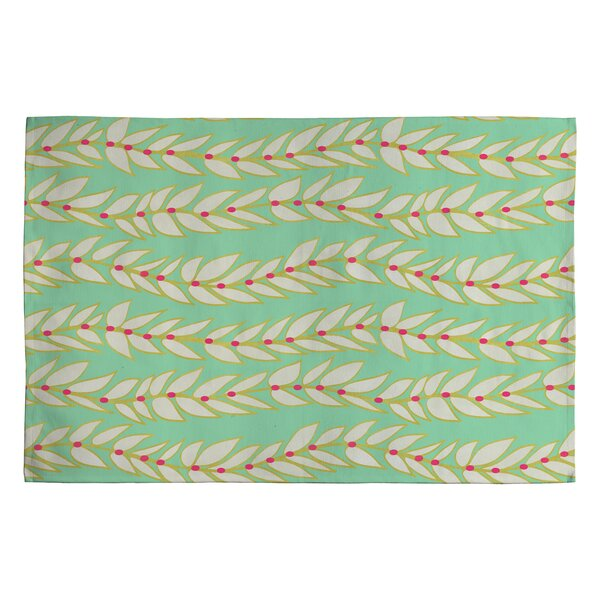Jacqueline Maldonado Leaf Dot Stripe Mint Rug by Deny Designs