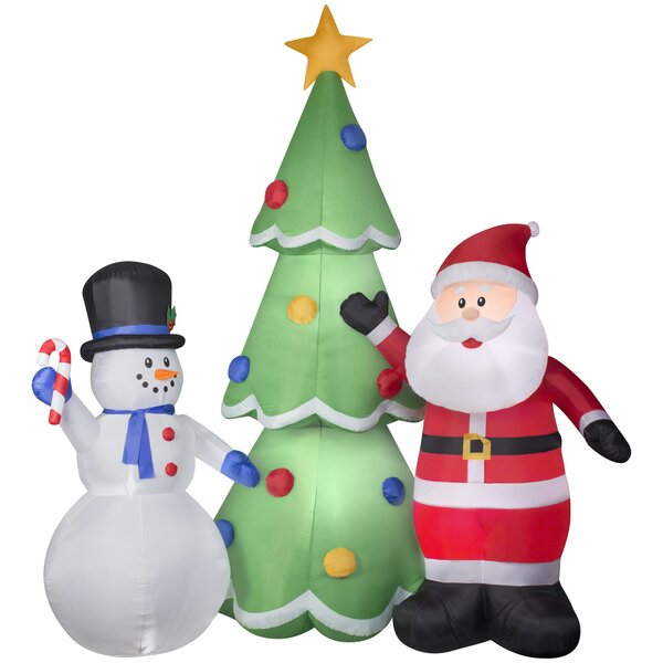 Santa and Snowman Tree Scene Inflatable by The Holiday Aisle
