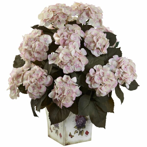 Hydrangea Centerpiece in Planter by Nearly Natural
