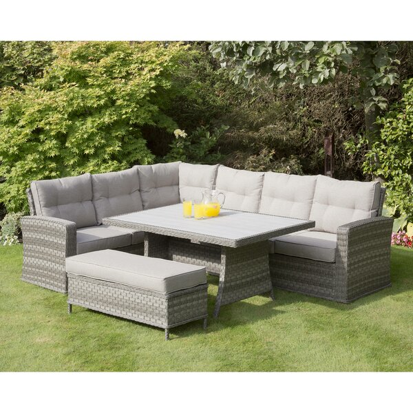 Taloga Corner 4 Piece Rattan Sectional Seating Group with Cushions by Latitude Run