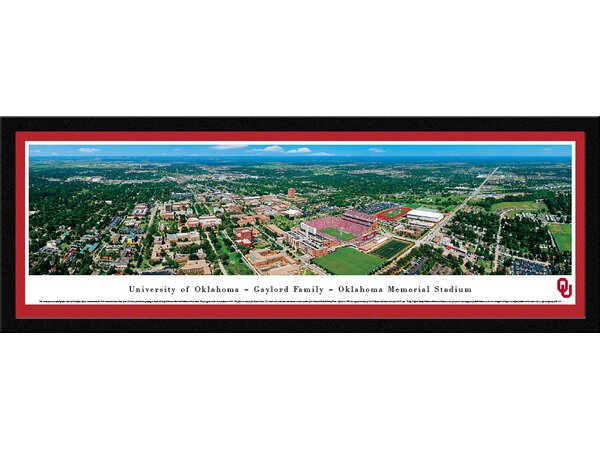 NCAA Oklahoma, University of - Aerial by Christopher Gjevre Framed Photographic Print by Blakeway Worldwide Panoramas, Inc