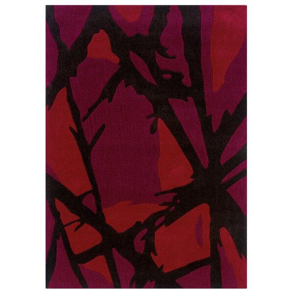 Beaded Hand-Tufted Purple/Black Area Rug by Ebern Designs