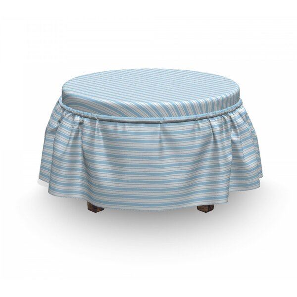 Harbour Stripe Wavy Soft Lines 2 Piece Box Cushion Ottoman Slipcover Set By East Urban Home