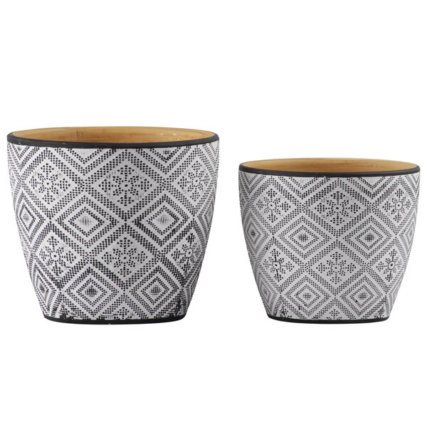 Whittle Round 2-Piece Ceramic Pot Planter Set by Gracie Oaks