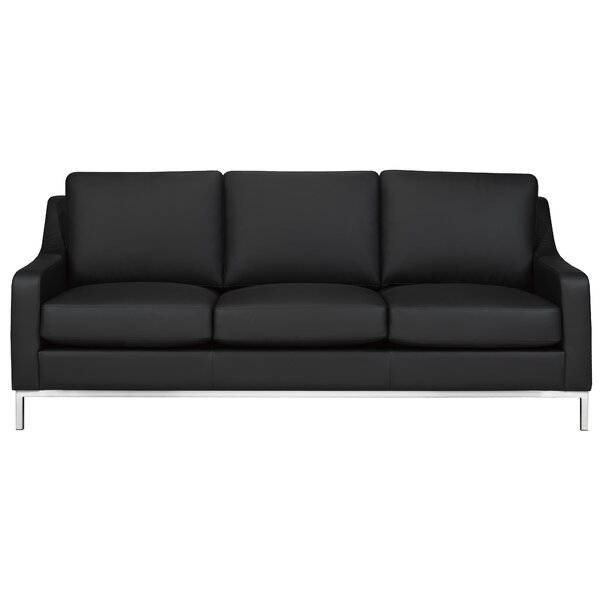 Cute Kase Leather Sofa by Rosdorf Park by Rosdorf Park