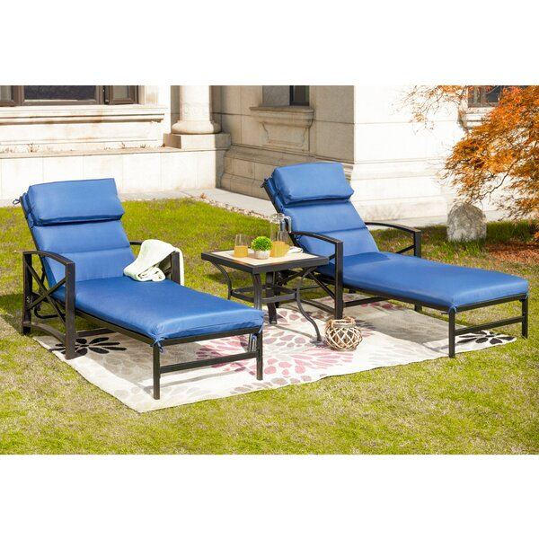 Ouellette Reclining Chaise Lounge with Cushions and Table