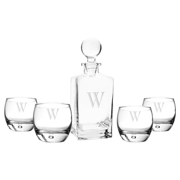 5 Piece Personalized Square Decanter Set by Cathys Concepts