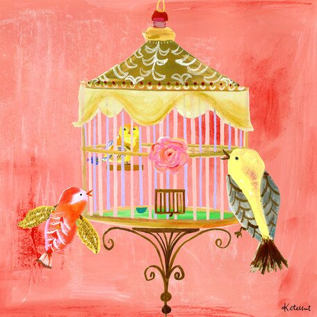 Rose Birdcage Canvas Art by Oopsy Daisy
