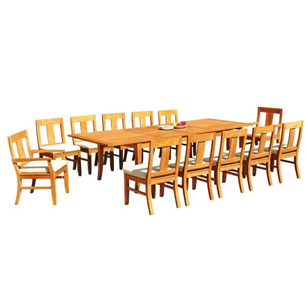 Alessandro 13 Piece Teak Dining Set by Rosecliff Heights