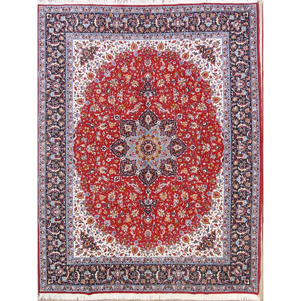 Knoxville Floral Classical Soft Plush Najafabad Persian Burgundy/Blue Area Rug by Isabelline