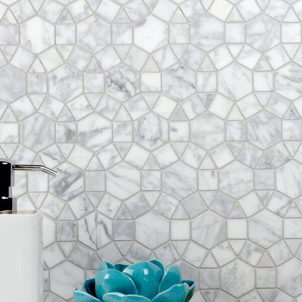 Tuscany White Ring 5 x 5 Marble Mosaic Tile