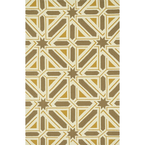 Palm Springs Hand-Hooked Taupe/Gold Indoor/Outdoor Area Rug by Dann Foley