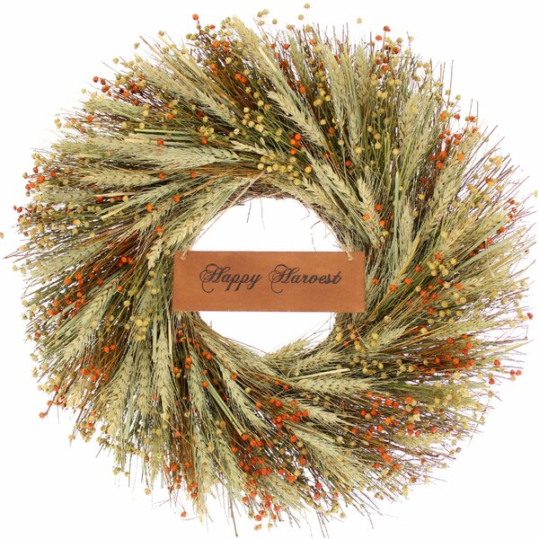 22 Wheat Wreath by Gracie Oaks