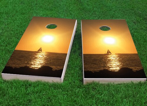 Florida Keys Sunset Cornhole Game (Set of 2) by Custom Cornhole Boards