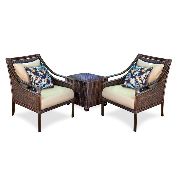 4 Piece Rattan Sunbrella 2 Person Seating Group with Cushions by Inspired Visions