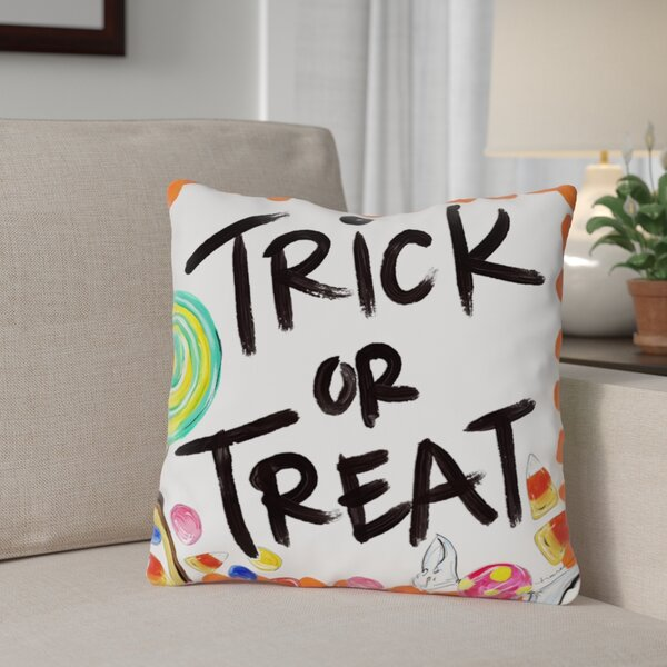 Halloween Trick or Treat Candy Throw Pillow by The Holiday Aisle