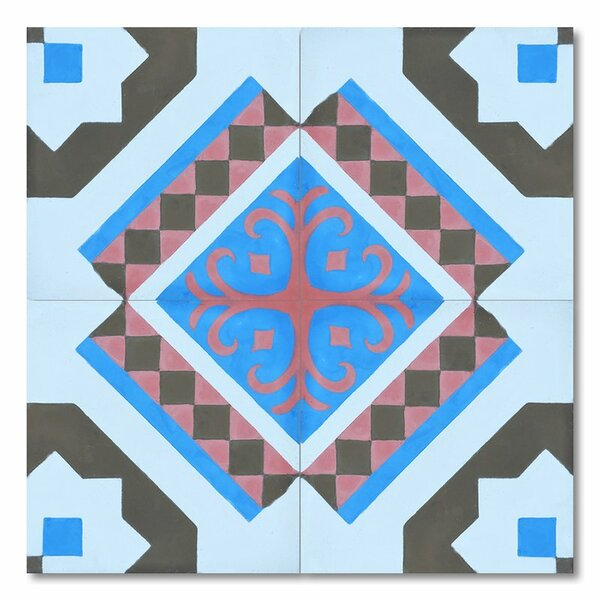 Bouman 8 x 8 Handmade Cement Tile in Multi-Color by Moroccan Mosaic