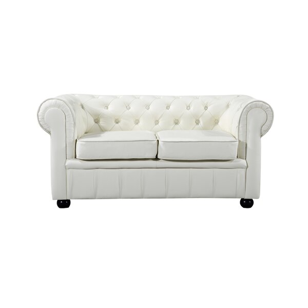 Kadlec Leather Chesterfield Loveseat by Alcott Hill