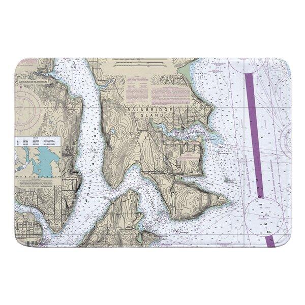 Nautical Chart Bainbridge Island WA Rectangle Memory Foam Non-Slip Bath Rug
