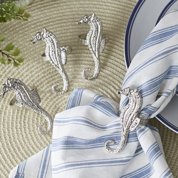 Polished Seahorse Napkin Rings (Set of 4) by Beachcrest Home