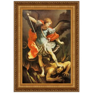 Archangel St. Michael by Guido Reni Framed Painting Print by Design Toscano
