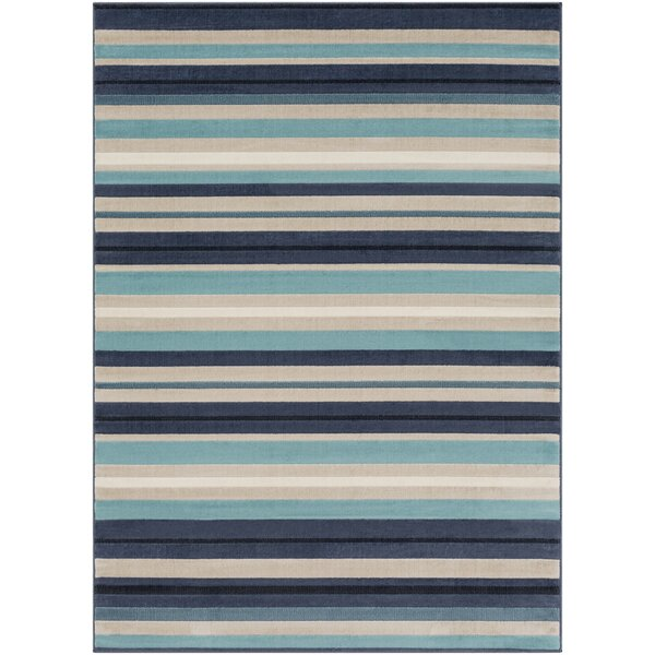 Bahr Striped Aqua/Charcoal Area Rug by George Oliver