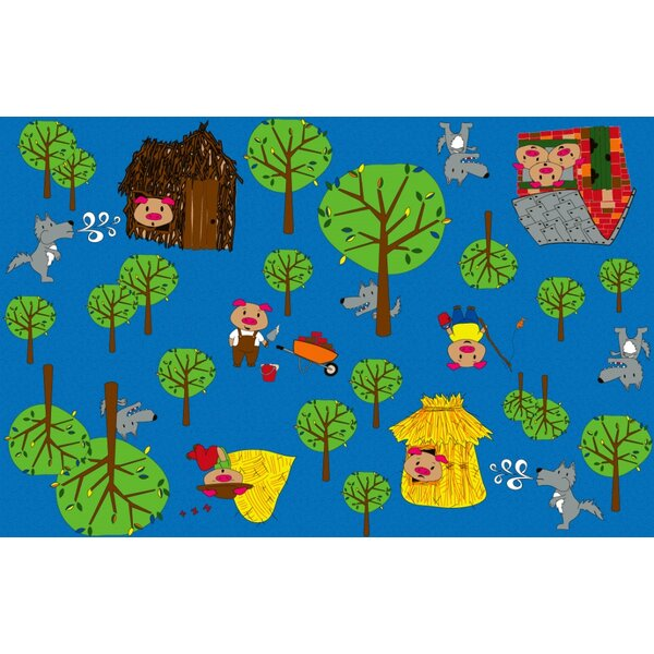Huff and Puff Nursery Blue/Green Area Rug by Kid Carpet