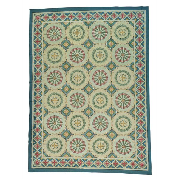 Aubusson Neo Classic Flat Weave Hand-Knotted Blue/Light Green Area Rug by Bloomsbury Market