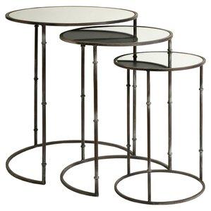 3 Piece Flouressa Mirror Top Nesting Tables by IMAX