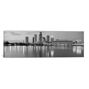 Tampa Panoramic Skyline Cityscape Photographic Print on Canvas in Black and White by iCanvas