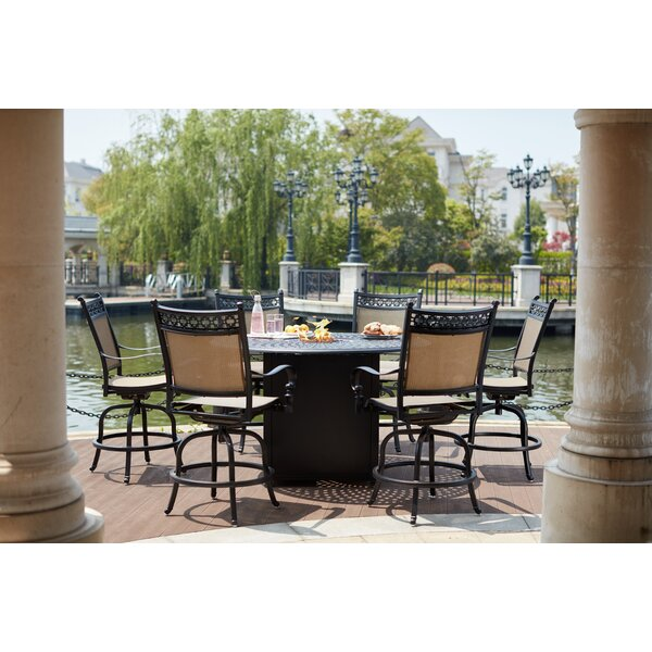 Minarik 7 Piece Bar Height Dining Set with Firepit by Canora Grey