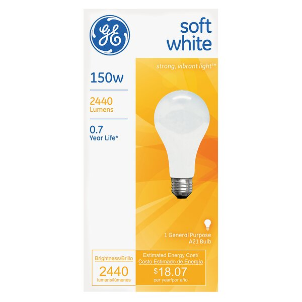 150W 120-Volt (2900 K) Incandescent Light Bulb by GE