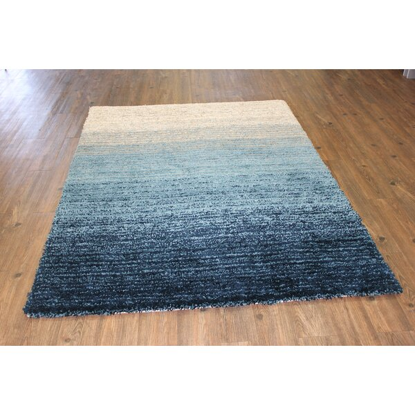 Little Neck Contemporary Modern Design Shag Hand-Tufted Blue Area Rug by Rosecliff Heights